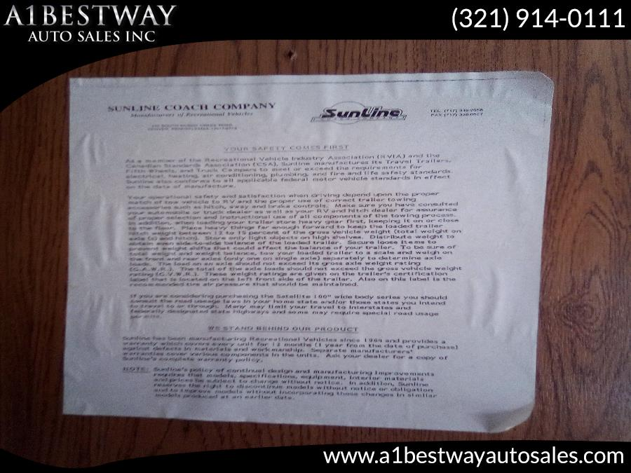 1995 SUNLINE 1950 0, available for sale in Melbourne , Florida | A1 Bestway Auto Sales Inc.. Melbourne , Florida