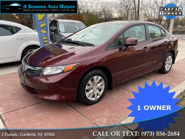 2012 Honda Civic LX, available for sale in Garfield, New Jersey | 4 Seasons Auto Motors. Garfield, New Jersey
